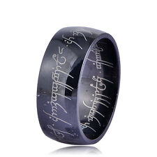 AQX001-stainless steel lord of the rings wedding vintage ring size 8 black
