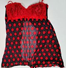 Red & Black Nightgown Bustier Chemise Teddy Lounge wear Women's Size 34 B