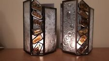 Partylite wall sconces (x2), metal with amber and clear glass