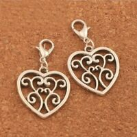 Clip-on Lace Heart Dangle Charm for Bracelet Necklace Zipper Pull Keychain