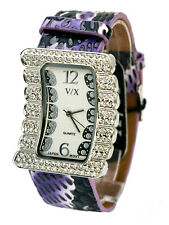 VISAGEXCHANGE:WOMENS PURPLE SNAKESKIN LOOK LEATHER BAND QUARTZ ANALOG WATCH
