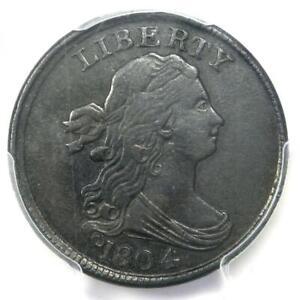 1804 Draped Bust Half Cent 1/2C (Plain 4, Stems) - PCGS XF Detail - Rare Variety