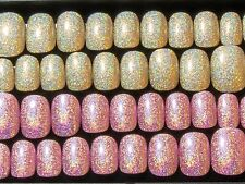 2 Sets Holographic Press On Fake False Artificial Faux Stick On Nails with Glue