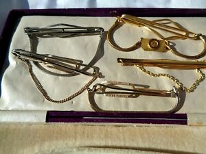 5 lovely vintage Stratton gold and silver gents unisex tie pin clips