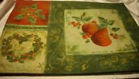 """Set (4) Fruit & Greenery PLACEMATS Green Red Gold 19""""x13"""" Reversible Decor    52"""
