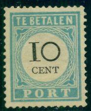 NETHERLANDS #J7a, 10¢ light blue, type I, no gum, signed, Scott $115.00