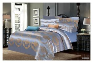 Blue Jacquard Duvet Cover set Silk Bedding Sets with Fitted sheet and Pillowcase