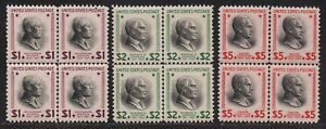 """US#s 832-834 MINT OG H NH { SCARCE -XF- """"CENTER LINES"""" } BLOCKS OF 4 FROM 1938"""