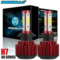 CREE H7 4-Sides LED Headlight Kit 2000W 300000LM Hi or Lo Beam Bulb 6000K HID X6