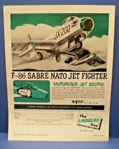 """LINDBERG 1966 """" F-86 Sabre  with jet sound """" single sided dealer sales flyer"""