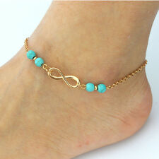 Fashion Women Ankle Gold Chain Turquoise Beads Anklet Bracelet Foot Beach Feet