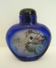 Snuffbox Chinese Sign Crystal Painted Hand with L'Interieur Antique