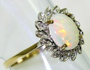 Pretty Opal & Diamond Cluster 9ct Yellow Gold ring size N ~ US 6 3/4