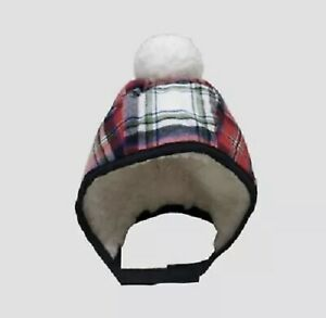 Cat & Jack Baby Plaid Sherpa Lined and Pom Trapper Hat 6-12M