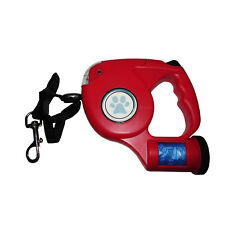 RETRACTABLE 'QUALITY' DOG LEAD with LIGHTS + WASTE BAGS puppy walking leash pet