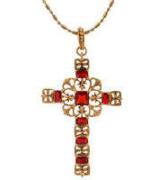 """Jacqueline Kennedy Camrose & Kross Simulated Ruby Cross 18"""" Necklace QVC"""