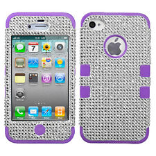 Silver Bling/Electric Purple TUFF Hybrid Phone  case Bling APPLE iPhone 4S/4