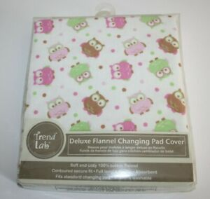 Trend Lab Deluxe 100% Cotton Flannel Changing Pad Cover Wood Friends Owl