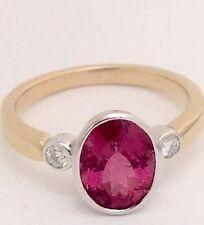 18ct Yellow Gold Ring With Rub set Pink Tourmaline & Diamonds