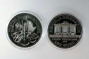 2013 Austrian Philharmonic Silver Coin 1 oz .999 Fine Silver 1.5 Euro lot of 2
