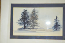 """Amy Evans 1975 Watercolor """"Pine trees scene"""" 13"""" x 10"""" wood frame with glass"""