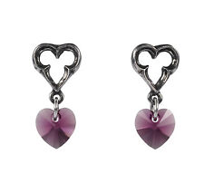 Elizabethan Heart Earrings (Pair) - Alchemy Gothic Mystical Marriage/Love Totem