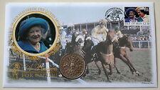 GB Regina Madre passione per le corse 1980 CORONA MONETA COVER 1998 CASTLETOWN H/S.