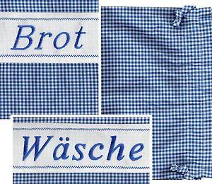 Brotbeutel Wäschebeutel Wäschesack kariert Stickerei Landhaus  Baumwoll-Misch
