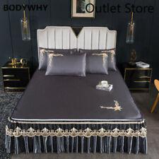 Ice Silk Bedspread Lace Zipper Folding Sleeping Mat  Bed Cover Pillowcase 3pcs