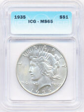 1935 United States Peace Silver Dollar $1 ICG Graded MS 65 Condition Coin