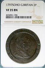 1797 NGC VF35 BROWN SOHO Great Britain 2P 2 Pence!! #B4802