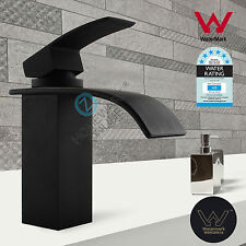 WELS Matt Black Square Basin Sink Vanity Mixer Tap Bathroom Flick Faucet Spout
