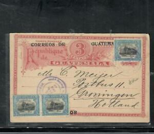 GUATEMALA COVER (P1809B) 3C PSC +5CX3 ANTIGUA TO HOLLAND
