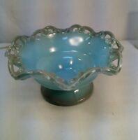 Vtg Blue Opaque Lattice Scalloped Ruffle Edge Glass Art Candy serving Dish Bowl