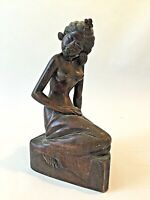 "10""  Pita Maha MAS Bali Art Deco Seated Woman Hand Carved Wood"