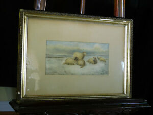 Attr:Thomas Sidney Cooper Listed Artist Original Water Color Sheep Resting