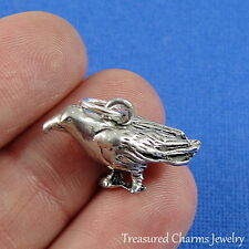 Silver CROW CHARM 3D Raven Bird PENDANT *NEW*
