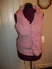 U.S. POLO ASSN. LADIES SIZE L. BUTTON UP SLEEVELESS BLOUSE RED/WHITE STRIPED TOP
