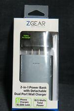 Zgear Gear Maximized power bank 10,000 mAh w/ dual port wall charger Ao4027720
