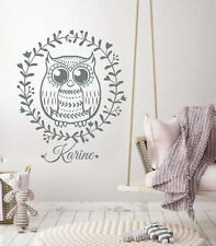 Baby Name Sticker Wall Decals Personalized Owl Rustic Vinyl Nursery Decor LA17