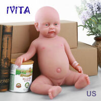 IVITA 18'' Cute Full Body Silicone Reborn Baby GIRL Take A Dummy Silicone Doll