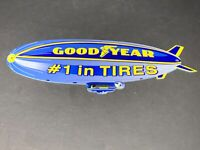 "VINTAGE GOODYEAR TIRES DIE-CUT BLIMP ZEPPELIN 12"" METAL TIRE GASOLINE & OIL SIGN"