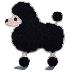"""Chenille Poodle Applique Patch - Black Dog, Canine Badge 2-5/8"""" (Iron on)"""