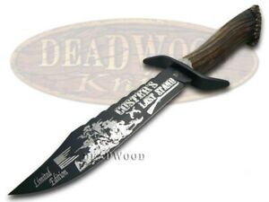 Hen & Rooster Bowie Knife Custer's Last Stand Deer Stag Blackened 5000B/CLS