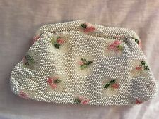 """Vintage Lumured Made in Usa Corde Bead Embroidered Flower Clutch Bag 10x6x1.5"""""""