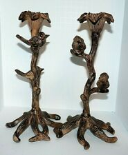 "Cast Iron Bird Candle Holders Metal Stunning 10"" Tall Rust Finish Primitive"