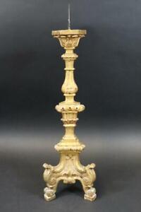 48 cm Barock Kerzenleuchter Altarleuchter Holz geschnitzt gefasst 18.Jhd (DK670)