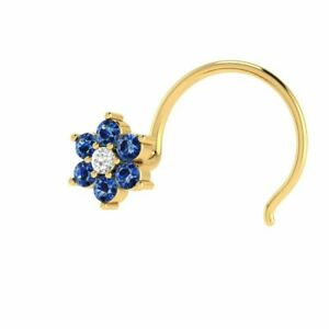 14k Yellow Gold Over Blue Sapphire Flower Nose Piercing Ring Pin Stud