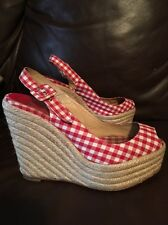 Christian Louboutin Gingham Red Checkered Espadrille Wedge Heel Sz 39