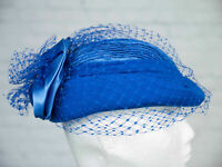 VINTAGE Hat Royal Blue Pill Box Face Veil Pleated 1980s 1950s Victorian Goodwood